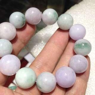 100%天然A貨翡翠~紫青種圓珠手鍊14mm