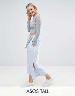 ASOS TALL Wide Leg Trousers in Shirting with D-ring