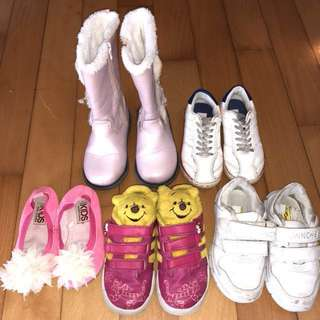 Nice shoes (size 26) for young girls aged 3+ ($110 for 5 pairs)