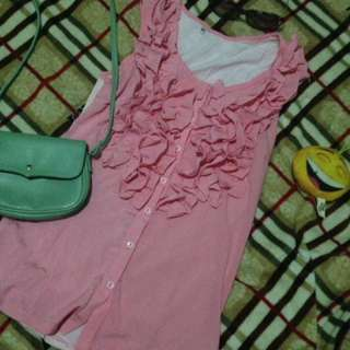 Pink Top with Raffles.