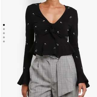 Topshop - black embroidery blouse