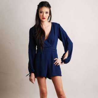 Theory of Seven Blue Cutout Romper