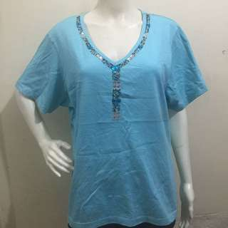KAKTUS blue beaded plus size ladies blouse tshirt xl