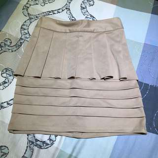 cream bodycon peplum skirt