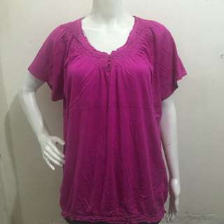 AVENUE fuschia gartered hem v neck ladies blouse xl
