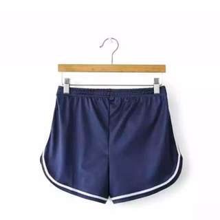 Dark Blue Satin Curved Sides Runner Shorts Stretchable Waist