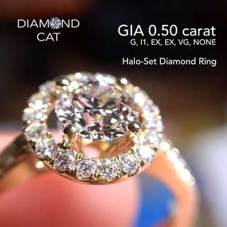 Half-Carat Halo-Set Diamond Ring - 18kt Yellow Gold