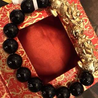 24K Gold Pixiu with Black Agate Bracelet