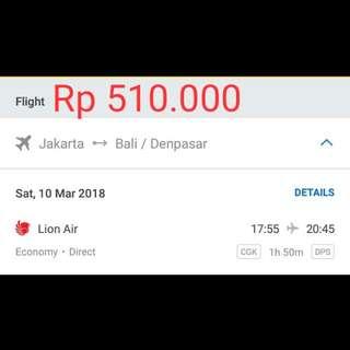 TIKET JAKARTA BALI 10 MARET 2018 (1X JALAN)