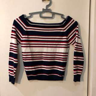 red white blue stripe ribbed knit top