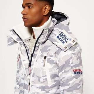 🚚 Superdry 極度乾燥 三層拉鍊 白色迷彩 二手商品 防風 防潑水 防寒 外套