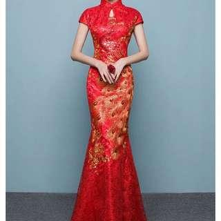 Ladies Bride Wedding Red Cheongsam Mermaid Lace Dress Gown