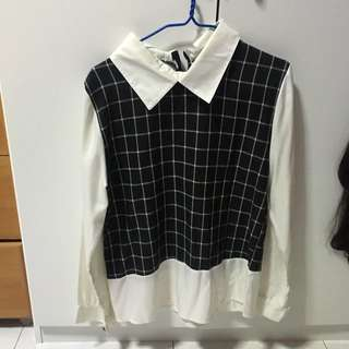 School girl TOP grid checkered