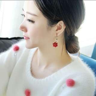 Korean style big red rose ear ring