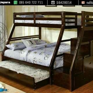 Kasur dan Ranjang Bunk Bed dengan Tangga Laci