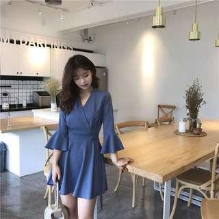 Korean Style Trumpet Sleeve Dress