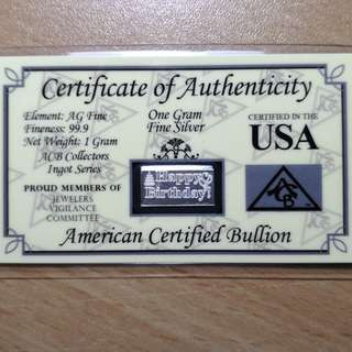 1g Silver Bar With Assay Certificate