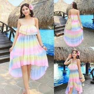 Rainbow strapless dress
