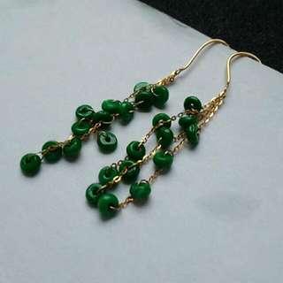 🏵️18K Gold - Grade A Green 生意兴隆 算盘 Prosperity Business Abacus Beads Jadeite Jade Beads Earrings🏵️