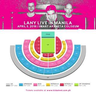 LANY Concert Live in Manila: Looking for 2 Patron or Lower Box Tickets