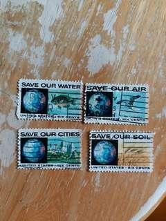 美國郵票 救救環境已銷郵票一套四全