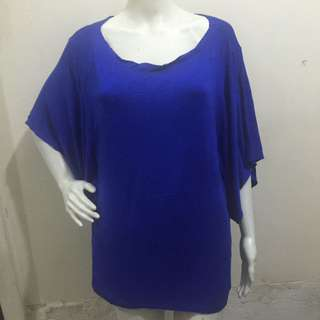 AVENUE royal blue plain plus size ladies blouse xxl