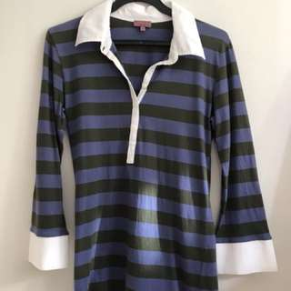 Trucco Blue Green Striped Collared Tee