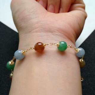 🎍14K Gold - Grade A 冰糯 Lavender Green Yellow and Red 圆圆满满 Jadeite Jade Beads Bracelet🎍