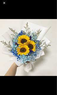Sunflower with Blue Baby Breath with Caspia