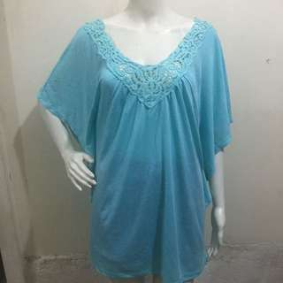 TABOO mint green plus size crochet neckline ladies blouse xxl