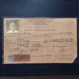 Old Vintage Document with Stamp - 1928 Landing Certificate of Residence - Port of Manila (very rare)