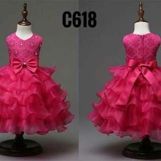 C618 Dress layered Shocking Pink ribbon