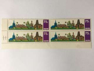 Singapore 1971 Visit Asean Year 75cts in blk of 4, error missing temple roof