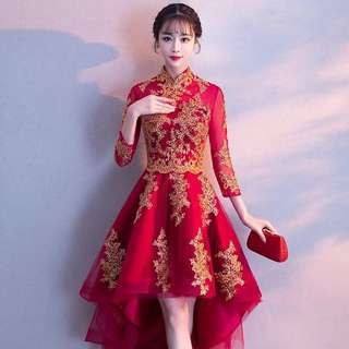 Ladies Bride Wedding Red Cheongsam Asymmetrical Tulle Lace Embroidered Dress