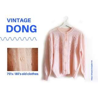 | 咚 咚 Vintage |日本古著- 珍珠粉夢幻少女毛衣外套