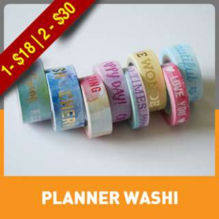 Watercolor Phrases Washi Tape Tube