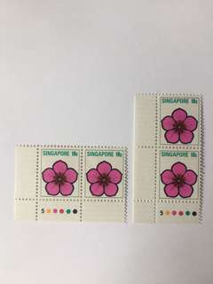 Singapore 1973 Flowers Definitives 10cts in corner pair! Mnh