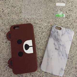 Iphone 6/6S case marble and line friends bear $8 each, comes with screen protector