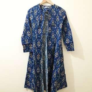 Long Outer Motif Batik - Biru