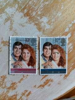 英國郵票1986年安德鲁王子大婚纪念 一套2全已銷