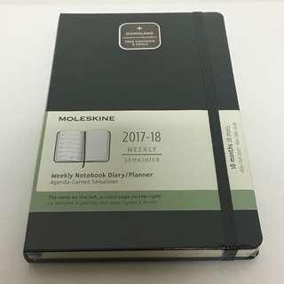Free Mailing! Moleskine Planner 18 months 2017-2018 Hard Cover - Black