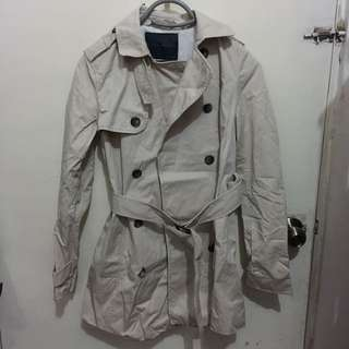 Zara Khaki/Beige Winter Trench Coat Jacket