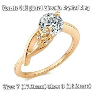 ★ Rosette Gold Plated Zirconia Crystal Ring
