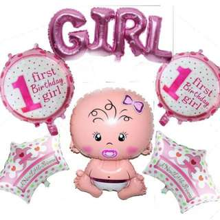 Baby Girl Shower/Birthday Balloon Jumbo 6pcs