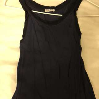 Miu Miu Navy Blue sheer top