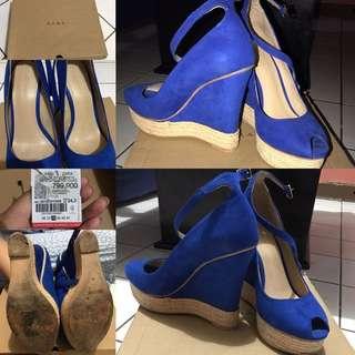 Zara wedges blue suede