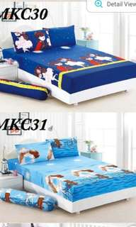 King size fitted bedsheet/2 pillow case/bolster case.