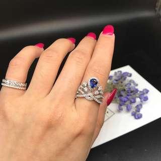 藍寶石➕鑽石戒指