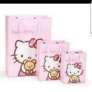 In Stock Hello Kitty Carrier Paper Bag For Gift And Goody Bag Size M  20 × 25 × 10 cm - $2.50