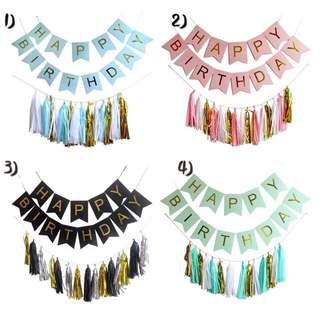 'Happy Birthday' Buntings and Tassel Garlands